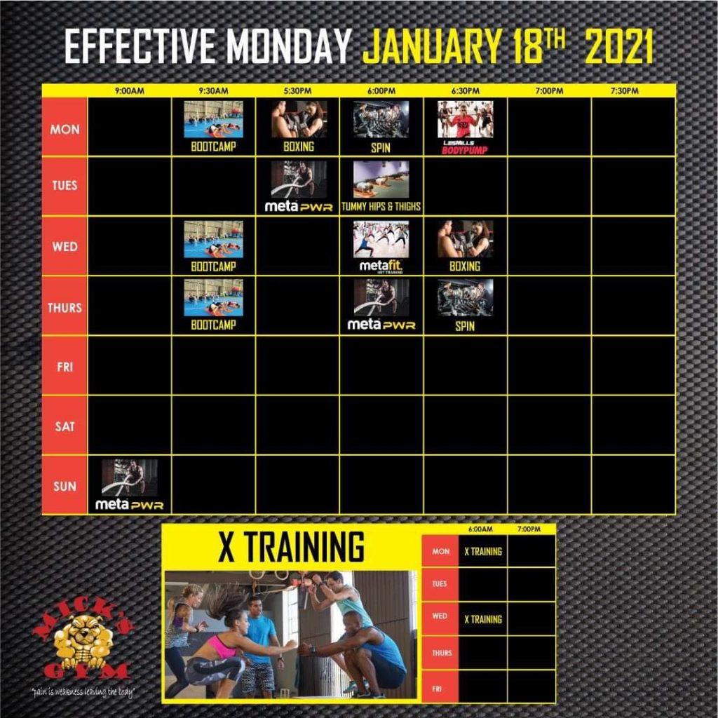 Mick Gym 2021 Group Fitness Timetable